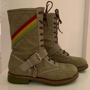 CHRISTIAN DIOR Rasta Cannage Combat Boots size 8.5
